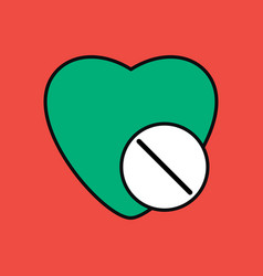 Flat icon design collection heart with medical vector