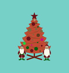 flat on background of christmas tree santa claus vector image