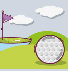 Golf play game with ball and flag vector