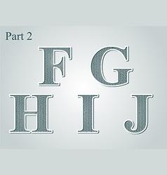Guilloche letters fghij vector