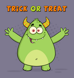 Happy horned green monster vector