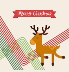happy merry christmas reindeer character vector image