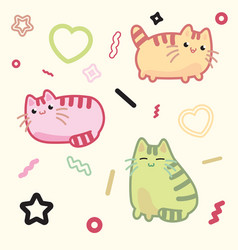 kawaii style cat kitten kitty pet on vector image vector image
