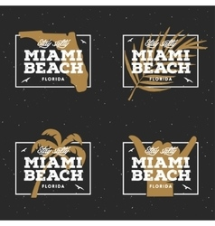 Miami beach florida t-shirt design vintage vector image