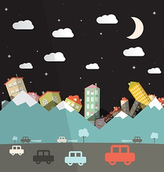 Night Landscape with Road and Cars Mountains with vector image vector image