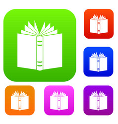 open thick book set collection vector image