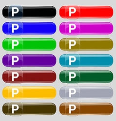 Parking icon sign set from fourteen multi-colored vector