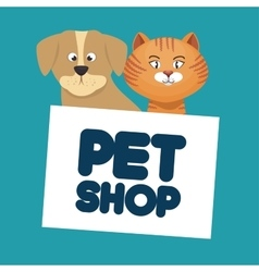 Pet shop cat and dog lettering vector