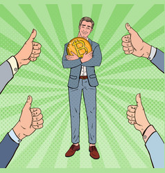 Pop art happy businessman holding big bitcoin coin vector