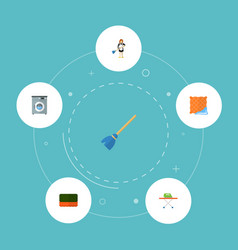 set of cleaning icons flat style symbols with vector image vector image