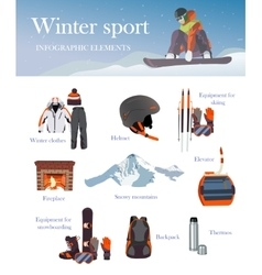 set of Ski and Snowboard equipment icons vector image vector image