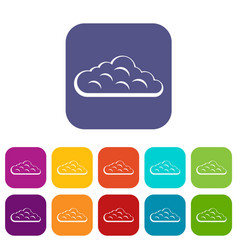 Sky cloud icons set flat vector