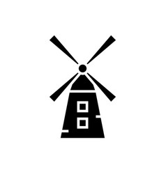 Small windmill icon blac vector