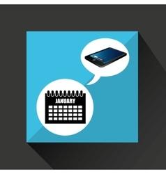 Smartphone blue screen unlock calendar date vector
