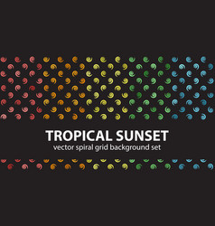 spiral pattern set tropical sunset seamless vector image vector image