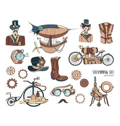 Steampunk objects and mechanism collection machine vector