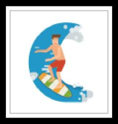 Surfer man riding on wave vector