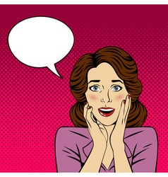 Surprised Woman with Bubble for Expression vector image