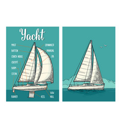 Two vertical posters for yacht club with type vector