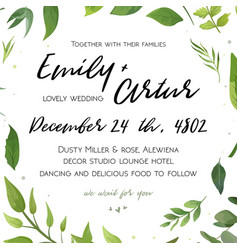wedding invitation floral invite card green design vector image vector image