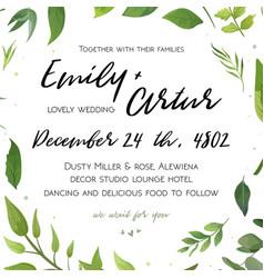 Wedding invitation floral invite card green design vector