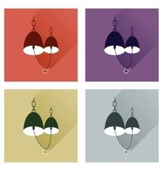 Set flat web icons with long shadow Bells wedding vector image