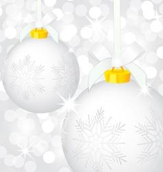 Christmas silver balls vector image
