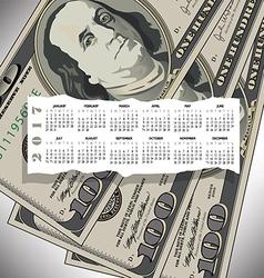 A 2017 calendar with a 100 dollar bill design vector