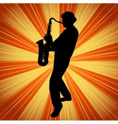 Sax musician silhouette on the vintage background vector