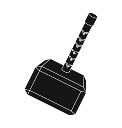 Viking battle hammer icon in black style isolated vector