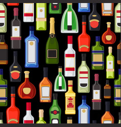 Alcohol bottles colorful pattern vector
