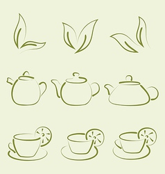 Herbal tea set cups and teapots vector
