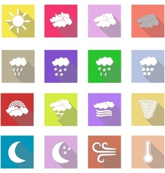 Weather flat icons set and white background vector