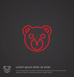 bear toy outline symbol red on dark background vector image