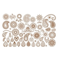 Henna tattoo doodle elements vector
