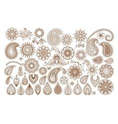 Henna tattoo doodle elements vector