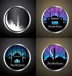 Attractive background set of ramadan kareem vector