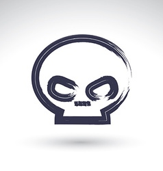 Brush drawing simple human skull painted medicine vector