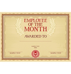 Emplyee of the month certificate vector image
