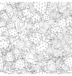 Seamless pattern set of monochrome strawberries vector