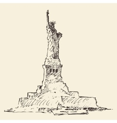 Statue of liberty hand drawn vector