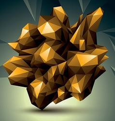 Asymmetric 3d abstract object golden geometric vector