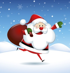 Santa claus runs in christmas snow scene vector
