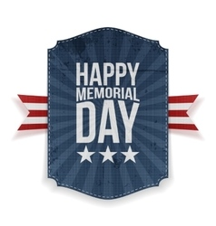 Happy memorial day festive poster and ribbon vector