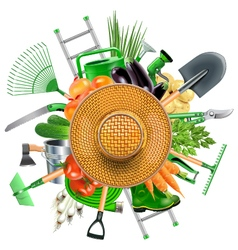 Garden accessories with sun hat vector
