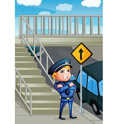 A wise face of a policeman vector image vector image