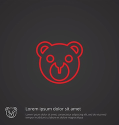 bear toy outline symbol red on dark background vector image vector image