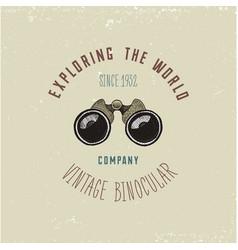 binocular logo emblem or label monocular vintage vector image vector image