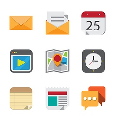 Business and interface flat icons vector