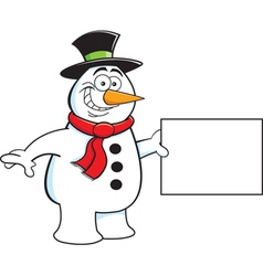 Cartoon snowman holding a sign vector image vector image